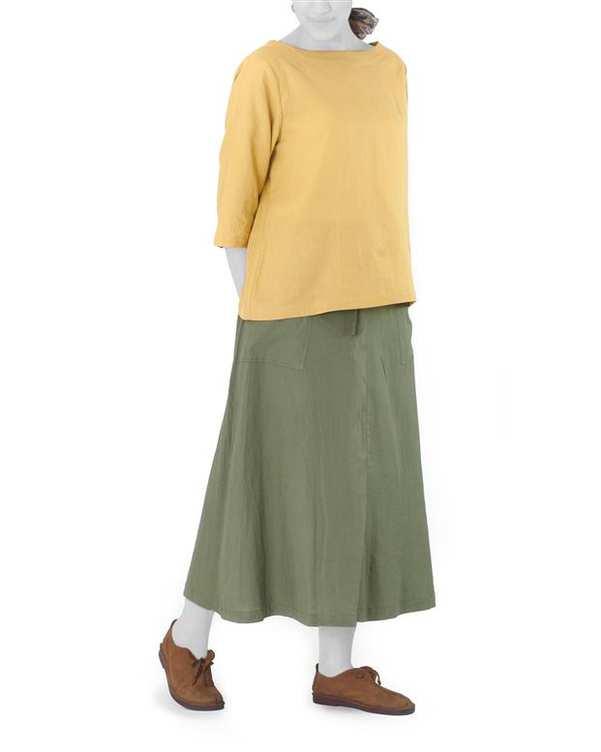 دامن زنانه لینن مدل مارمی سبز Hito Style