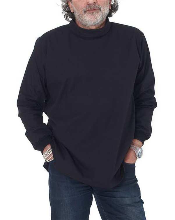 تی شرت مردانه آستین بلند مدل استیو جابز مشکی Hito Style