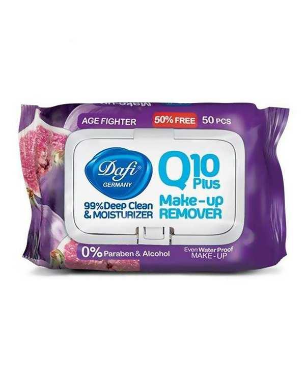 دستمال مرطوب پاک کننده آرایش Q10 طرح انجیر دافی بسته 50 عددی