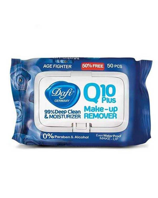 دستمال مرطوب پاک کننده آرایش ضد پیری Q10 دافی بسته 50 عددی