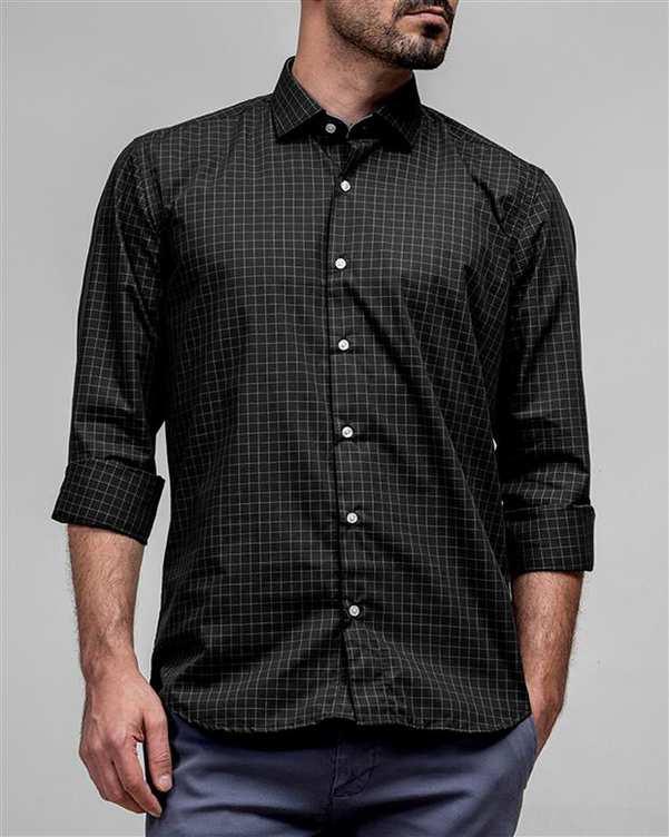 پیراهن مردانه مشکی چهارخانه ادموند