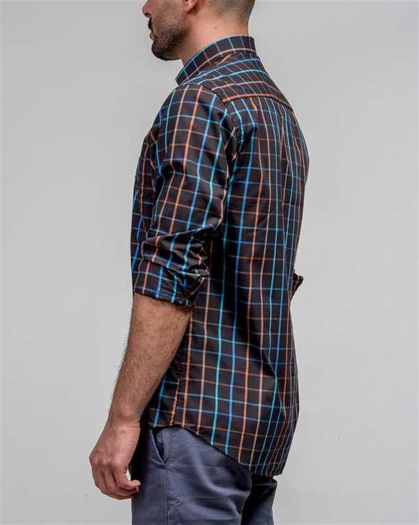 پیراهن مردانه قهوه ای چهارخانه ادموند