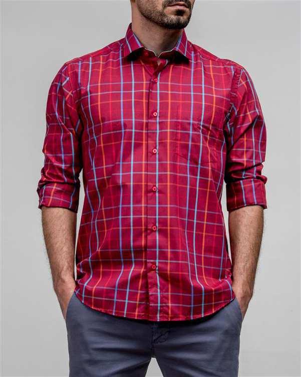 پیراهن مردانه قرمز چهارخانه ادموند