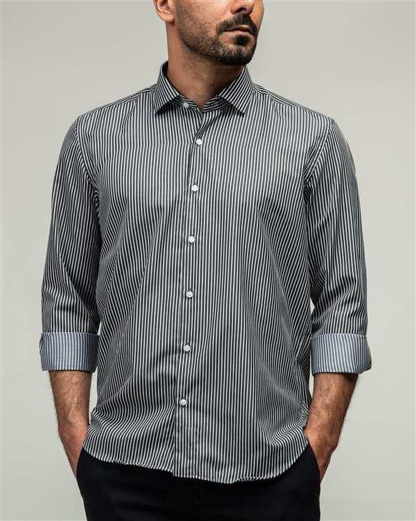 پیراهن مردانه مشکی سفید راه راه ادموند