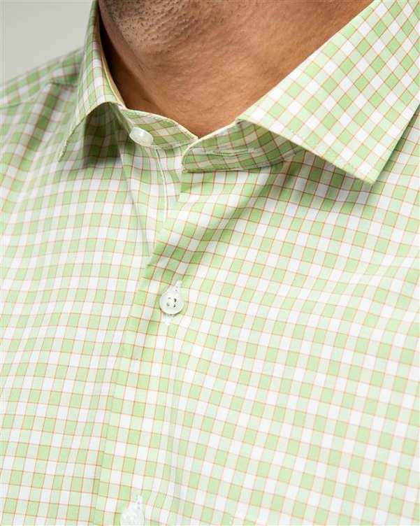 پیراهن مردانه سبز سفید چهارخانه ادموند