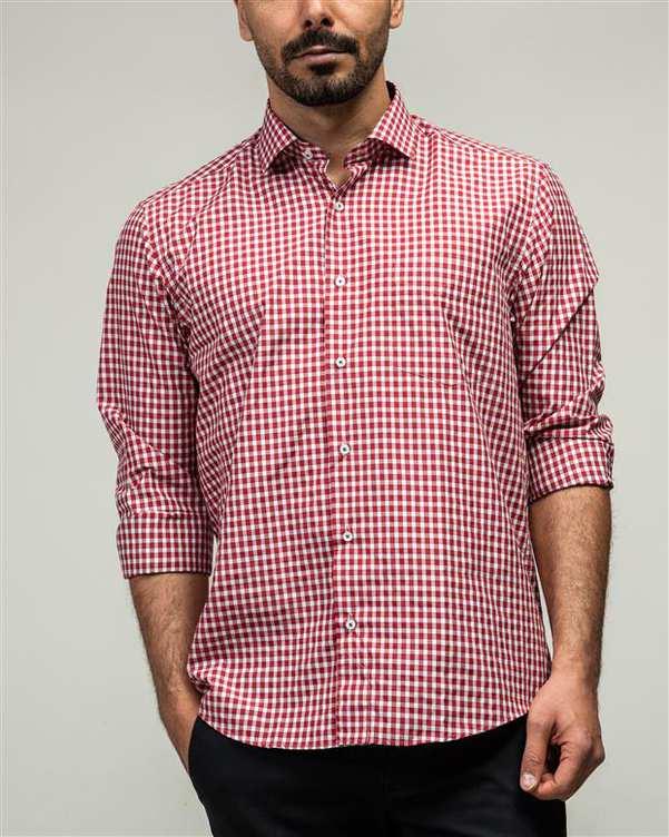 پیراهن مردانه قرمز سفید چهارخانه ادموند