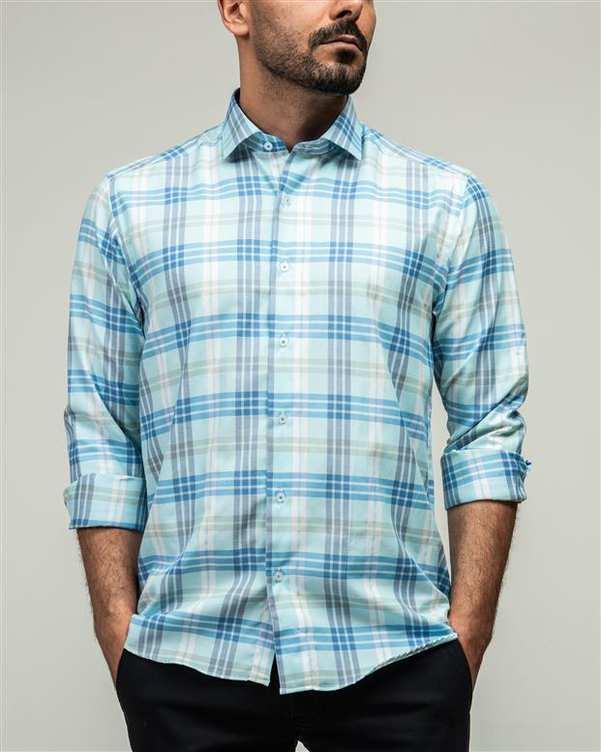 پیراهن مردانه سبز آبی چهارخانه ادموند