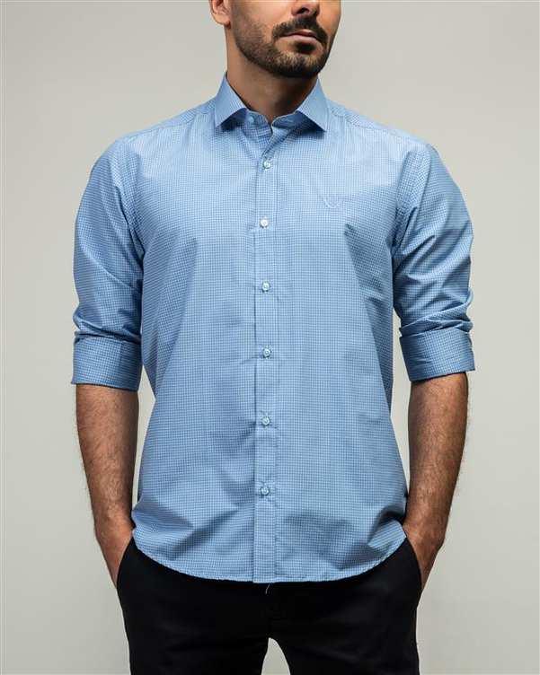 پیراهن مردانه آبی چهارخانه ادموند