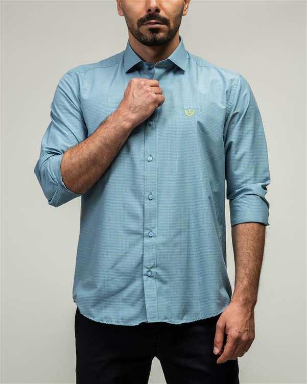 پیراهن مردانه طوسی سبز چهارخانه ادموند
