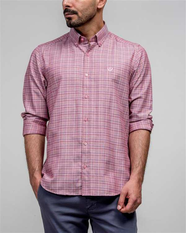 پیراهن مردانه صورتی چهارخانه ادموند