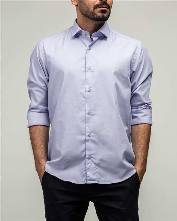 پیراهن مردانه آبی یاسی ادموند