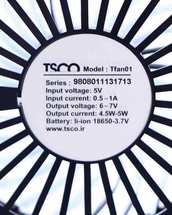 پنکه رومیزی مشکی مدل TFan 01 تسکو