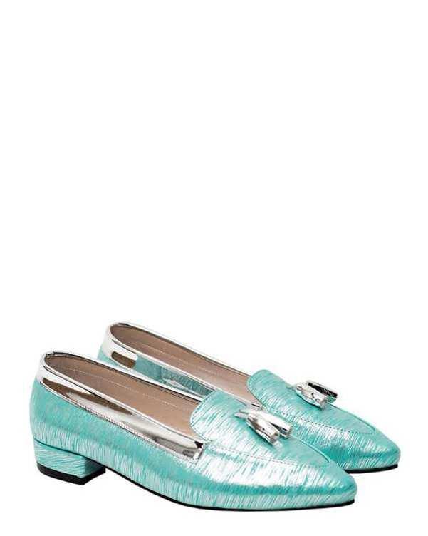 کفش زنانه کژوال سبز نقره ای منگوله دار سورا