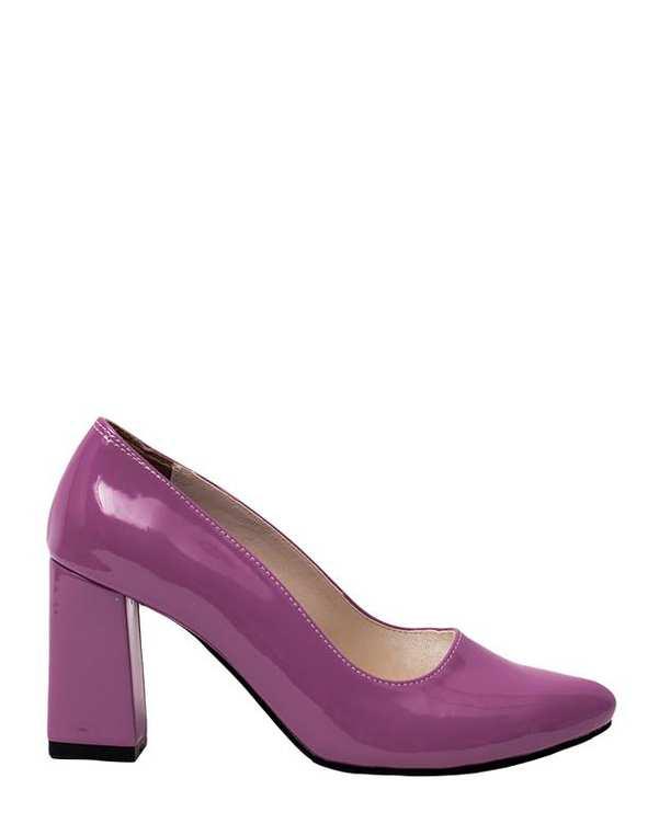 کفش زنانه پاشنه بلند ورنی بنفش سورا