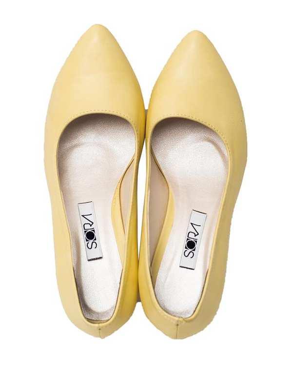 کفش زنانه پاشنه بلند لیمویی سورا