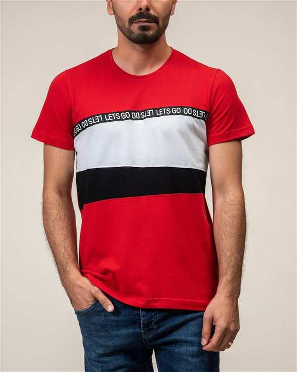 تی شرت مردانه نخی یقه گرد قرمز JPA