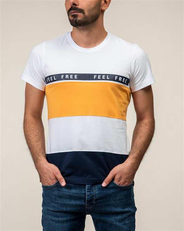 تی شرت مردانه نخی یقه گرد سفید زرد JPA