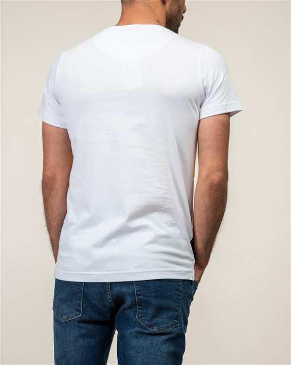 تی شرت مردانه نخی یقه گرد سفید JPA