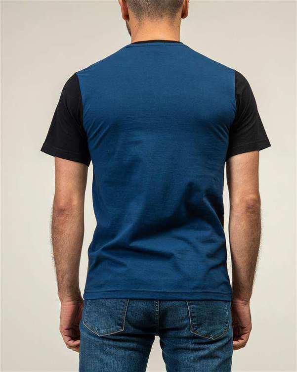 تی شرت مردانه نخی یقه گرد مشکی سبز سورا