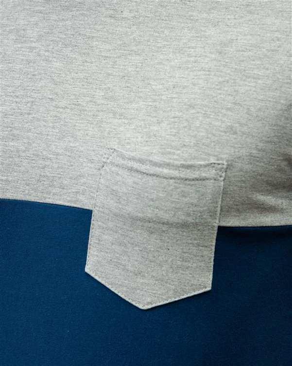 تی شرت مردانه نخی یقه گرد طوسی سرمه ای سورا