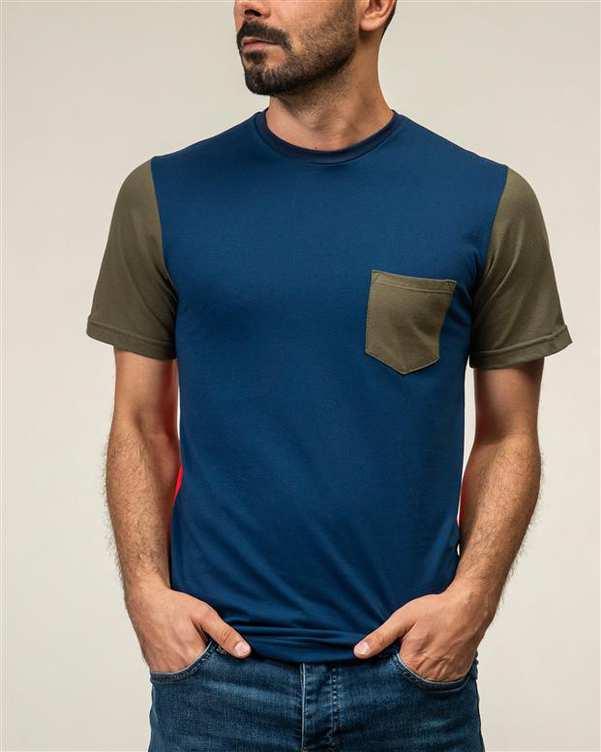 تی شرت مردانه نخی یقه گرد سرمه ای سورا