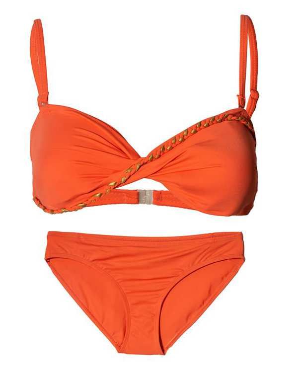 مایو زنانه 2 تکه نارنجی بیسیک وان