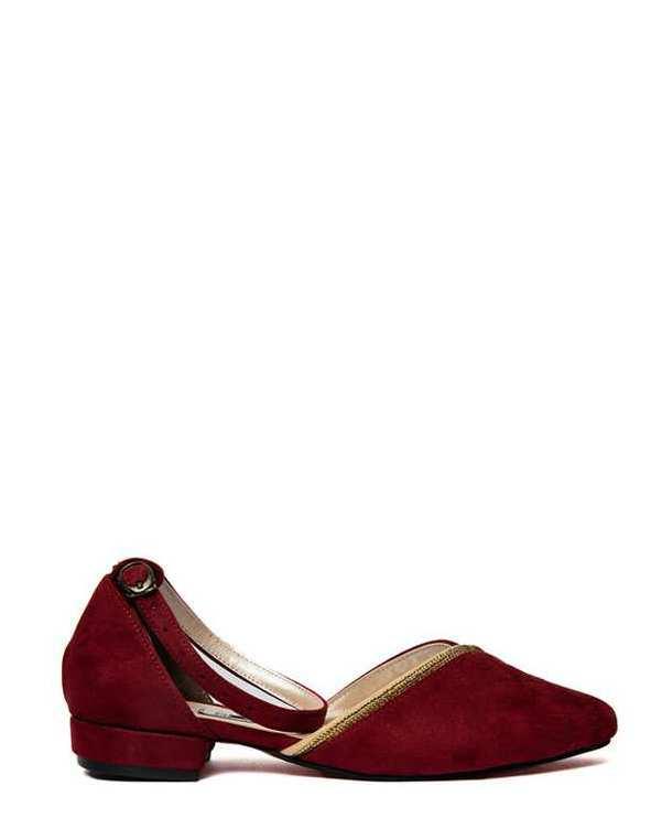 کفش زنانه کژوال جیر زرشکی سورا