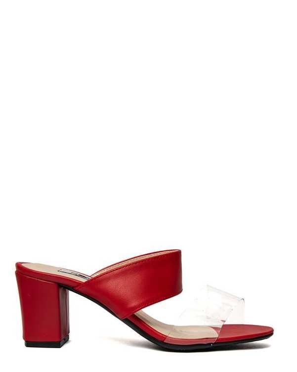 صندل زنانه پاشنه بلند قرمز سورا