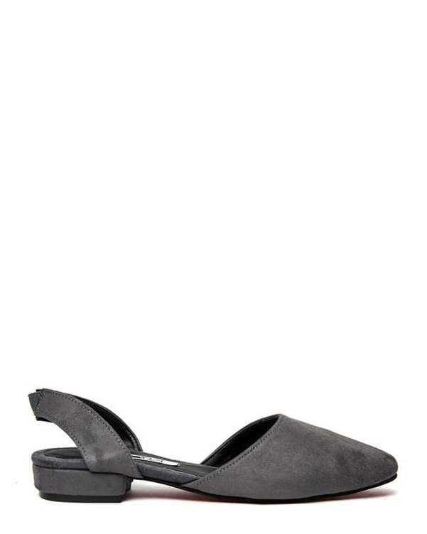 کفش تخت زنانه جیر طوسی سورا