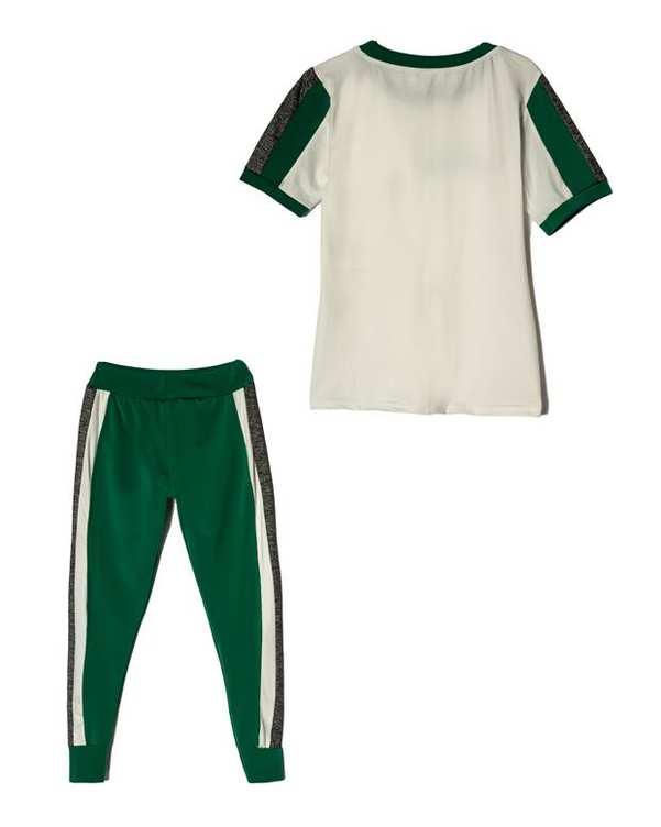 لباس راحتی زنانه مدل Fitness سفید سبز پاتیک Pattik