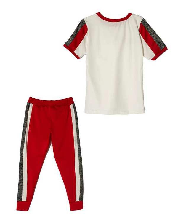 لباس راحتی زنانه مدل Fitness سفید قرمز پاتیک Pattik