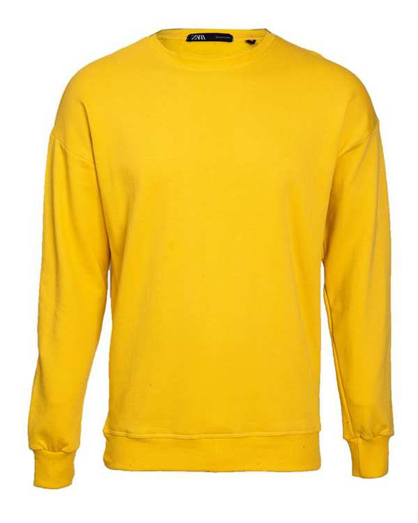 سویشرت مردانه جلو بسته دورس تو کرکی زرد طرح زارا