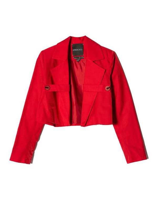 کت زنانه کوتاه براق قرمز زیبو