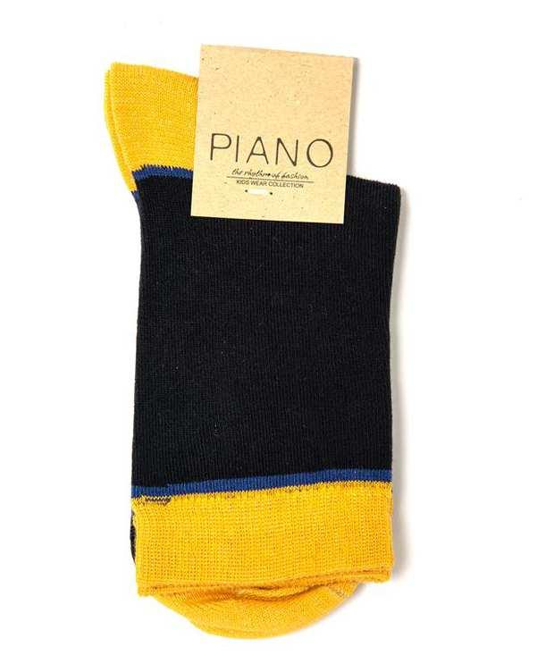 جوراب بچگانه ساق کوتاه سرمه ای خردلی پیانو