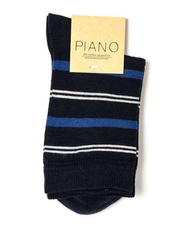 جوراب بچگانه ساق کوتاه سرمه ای راه راه پیانو