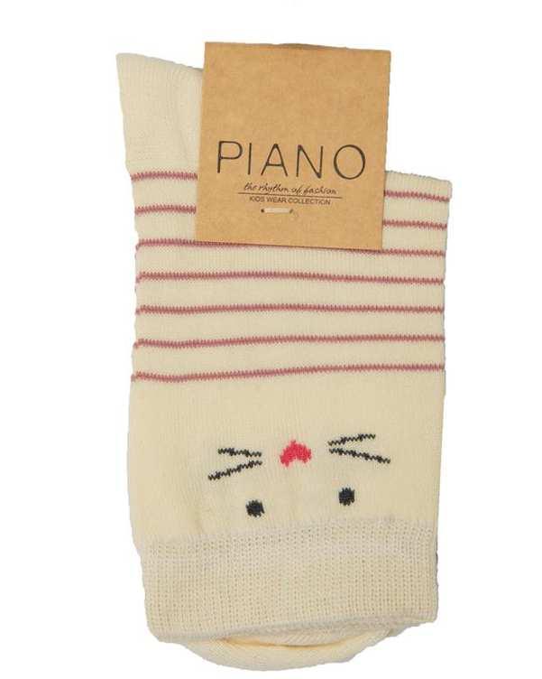 جوراب دخترانه ساق کوتاه کرم راه راه پیانو