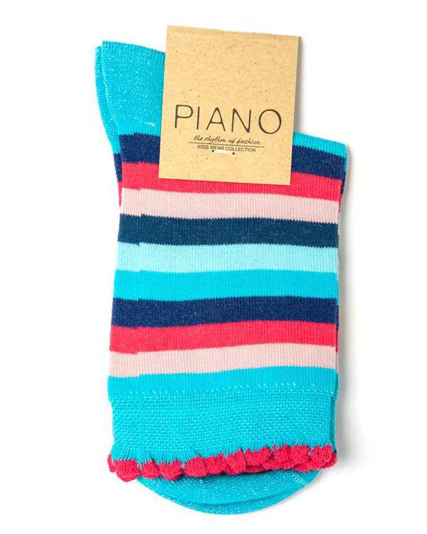 جوراب دخترانه ساق کوتاه رنگی راه راه پیانو