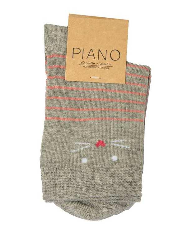 جوراب دخترانه ساق کوتاه طوسی راه راه پیانو