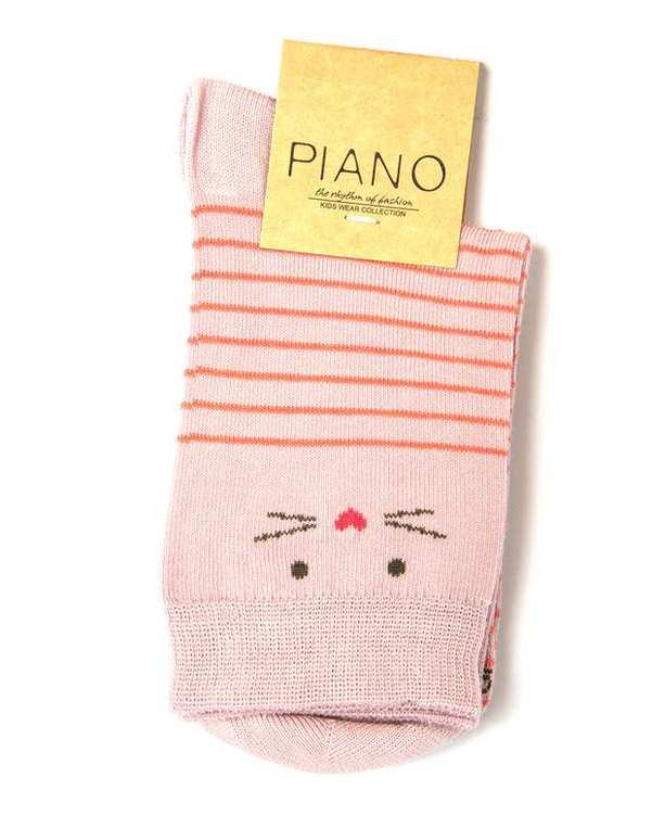 جوراب دخترانه ساق کوتاه صورتی چرک راه راه پیانو