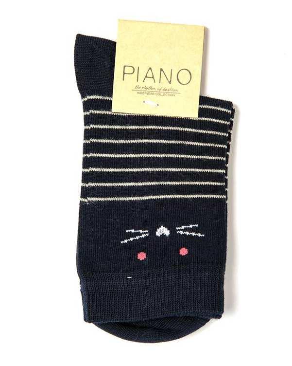 جوراب دخترانه ساق کوتاه سرمه ای راه راه پیانو