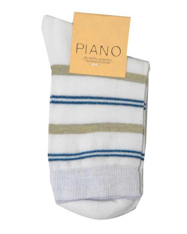 جوراب بچگانه ساق کوتاه سفید راه راه پیانو