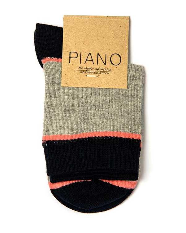 جوراب بچگانه ساق کوتاه طوسی سرمه ای پیانو