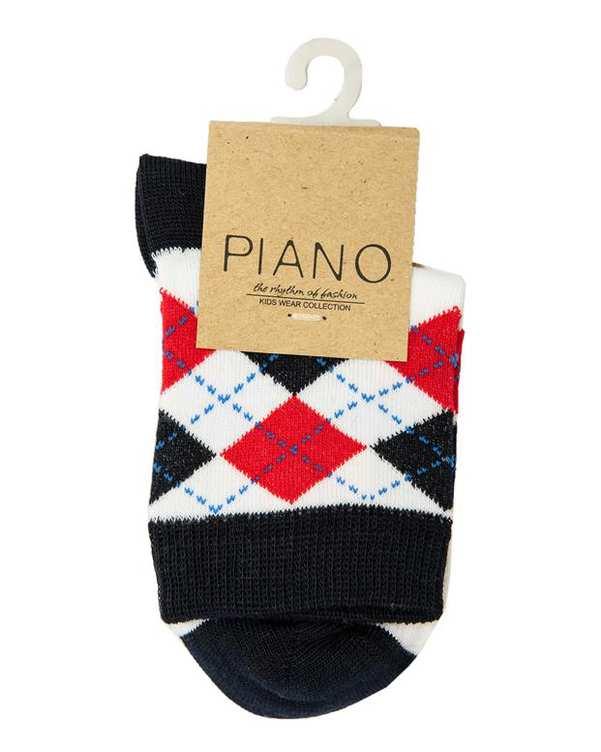 جوراب پسرانه ساق کوتاه سفید سرمه ای پیانو