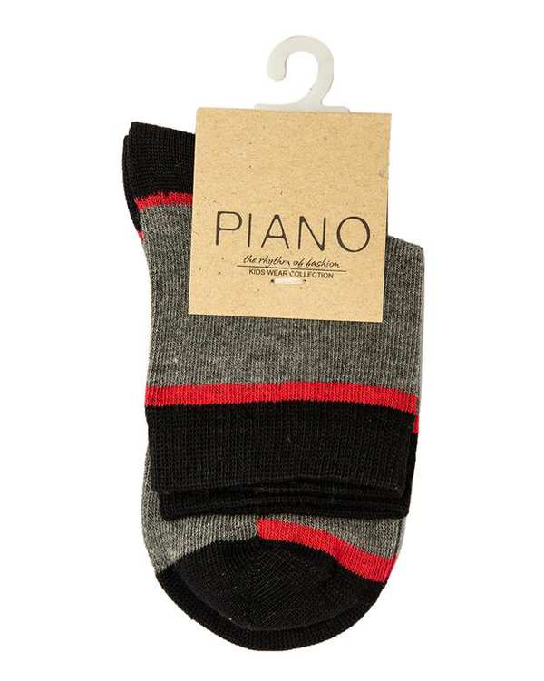 جوراب بچگانه ساق کوتاه طوسی مشکی پیانو