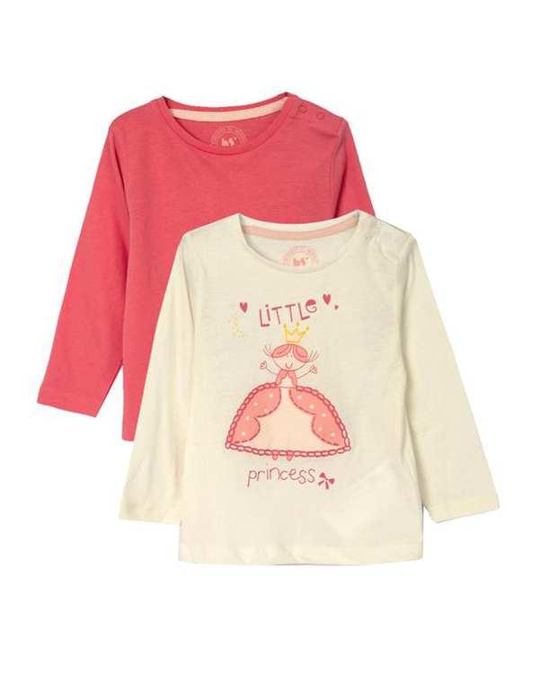 بسته 2 عددی تی شرت دخترانه آستین بلند شیری صورتی زیپی