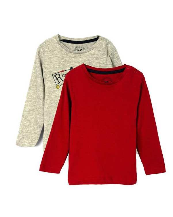بسته دو عددی تی شرت نوزادی آستین بلند طوسی قرمز زیپی