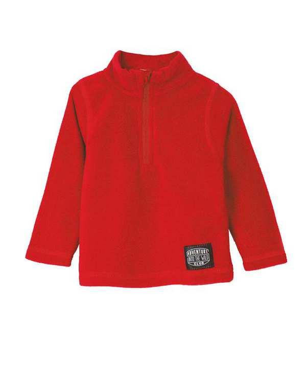 سویشرت نوزادی جلو بسته قرمز زیپی