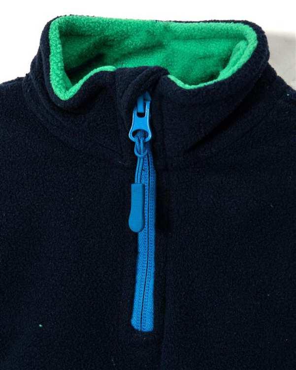 سویشرت نوزادی جلو بسته سرمه ای سبز زیپی