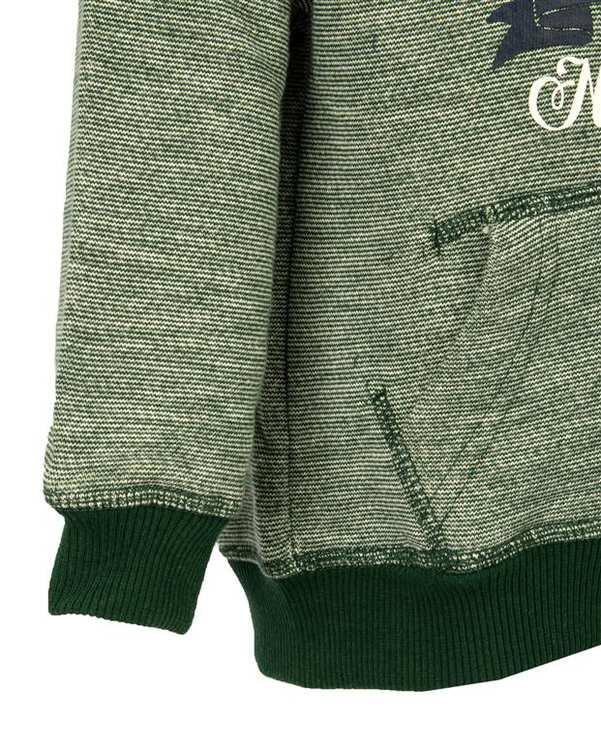 هودی پسرانه بافت سبز زیپی