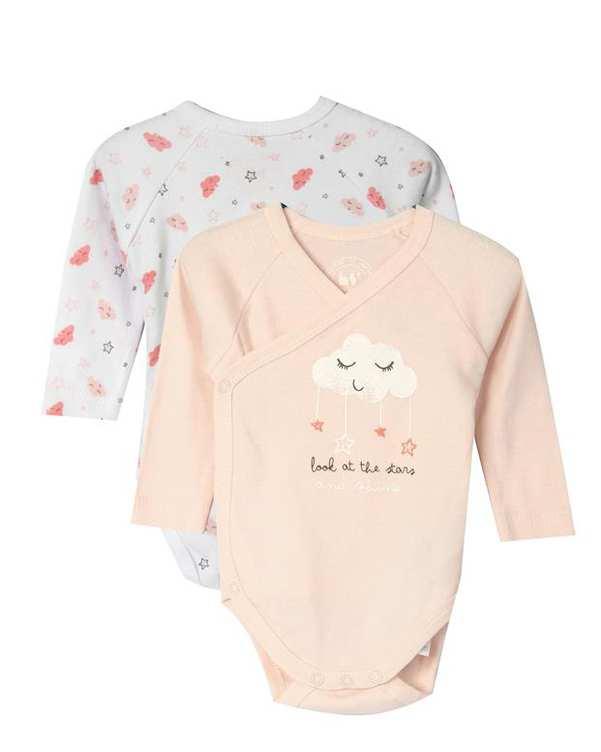 بسته 2 عددی بادی دخترانه نوزادی صورتی سفید زیپی